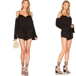 Chaser Cold Shoulder Cami Romper in Black